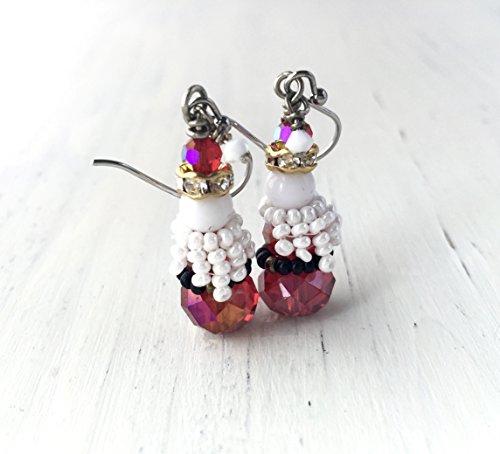 Santa Claus Red Crystal Dangle Holiday Earrings Christmas Jewelry Beaded Beard Red (Santa Dangle)