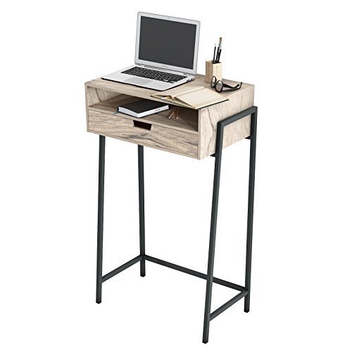 Furnigance Multi-use Standing Desk Stand Up Desk Unadjustable Height Workstation Mini Bar Table Snack Table with Storage Drawers for Home Office/ (Metal Office Credenza)