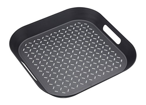 (Master Class Non-Slip Plastic Serving Tray, 39 x 39 cm (15.5) - Black / Grey by KitchenCraft)