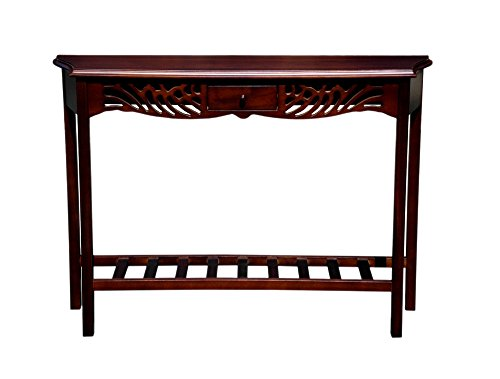 Offex Living Room Mahogany Wood Console Table with Magazine Shelf