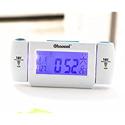 Digital LED Dual Laser Wall Projector Projection Alarm Time Clock Temperature blue