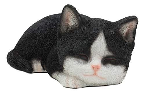 Ebros Lifelike Sleeping Tuxedo Black and White Cat Statue 7