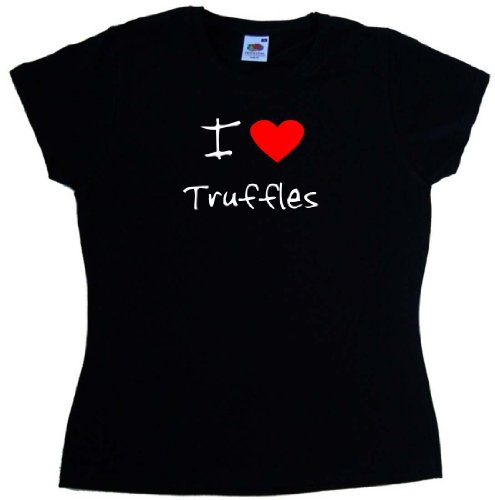 (I Love Heart Truffles Black Ladies T-Shirt (White print)-US Size 4)