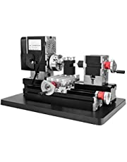 Mini Lathe 12000Rpm 60W, 12V DC 5A Heavy Duty Power Metal Working Lathe Woodworking Soft Metal DIY Tool Modelmaking, with Belt Protection Cover