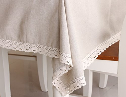 "Enova Home Natural Simple Rectangle Cotton and Linen Washable Tablecloth, Lace Table Cloth Cover with Pattern Printed for Kitchen Dinning Tabletop (54 x 80 Inch, Simple White) - Material: 60% Cotton 40% Linen; Measures 54"" Wide x 78.7"" Length (140 x 200 cm),includes lace macrame length Care Instructions: Machine wash cold delicate, hand wash best; hang up to dry;low iron;don't bleach Suitable for kitchen room, dining room, and family room - tablecloths, kitchen-dining-room-table-linens, kitchen-dining-room - 417AVxudjQL -"