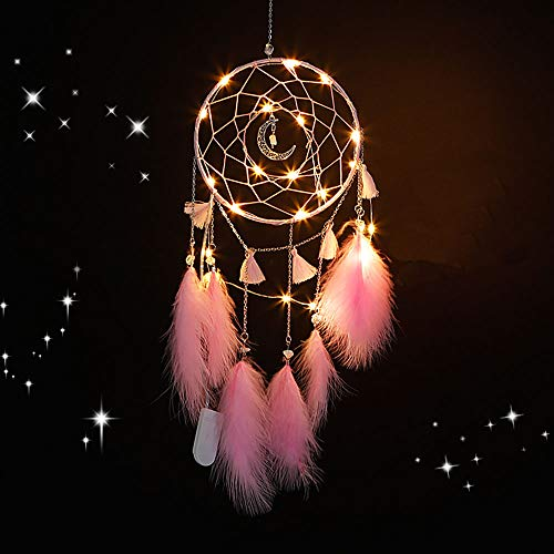 Nice Dream LED Dream Catcher, Handmade Dream Catchers for Bedroom Wall Hanging Home Decor Ornaments Craft (Pink)