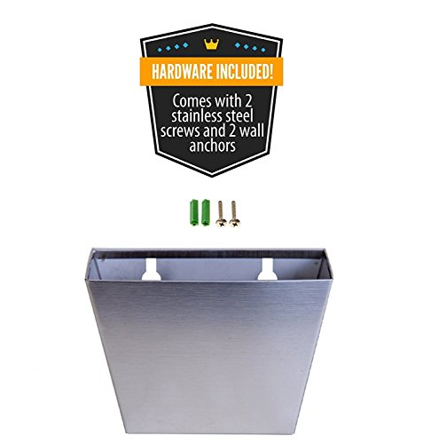 Wall Mounted Brushed Stainless Steel Beer and Soda Bottle Cap Catcher Bin Bucket, Free Mounting Hardware, Simple Installation Mount, Easy Remove Replace to Empty, by Global Metal DesignsTM