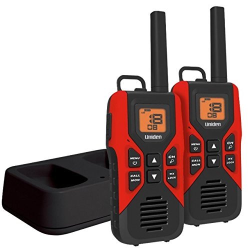 Uniden 30-Mile GMRS/FRS Radio - 2 Radios, Micro USB, Charge Cradle, headset jack, Red/Black