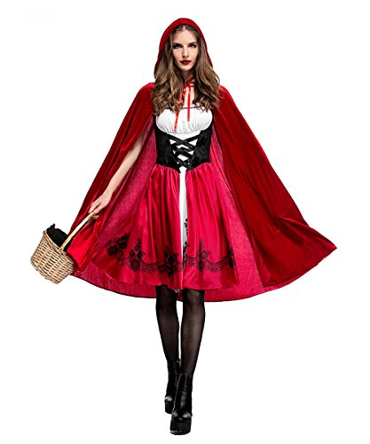 Women's Classic Red Riding Hood Costume,Red Dress and Hooded Cape,Small