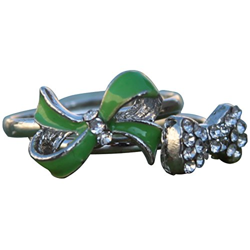Children's Kids Cute Adjustable Bling Bow Two Ring Set - Lime (Round Brilliant Bead Set Band)
