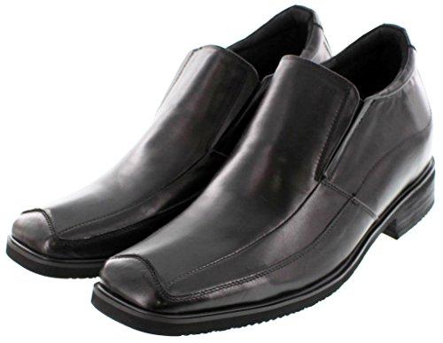 calto-g62329-9,1cm Grande Taille-Hauteur Augmenter Chaussures ascenseur (à enfiler en cuir noir Square-Toe)