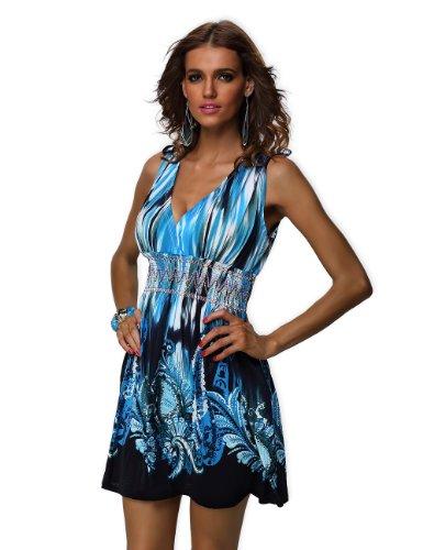 Jinhuanshow Womens Printed Sleeveless Dresses
