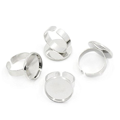 PEPPERLONELY Brand 10PC Silver Tone Adjustable Rings Base (18.3mm US Size 8) Cabochon Frame Setting Tray (Fits 18mm) ()