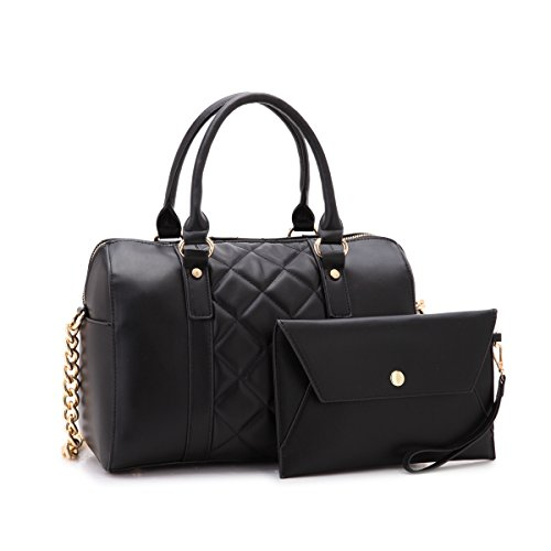 (MMK Collection Fashion Satchel handbag~(7566/7370) Soft/Patent Vegan Leather~Beautiful Designer Purse~Perfect Shoulder Bag~Fashion handbag Set for Women(Matching Wallet Set 7566 Black))
