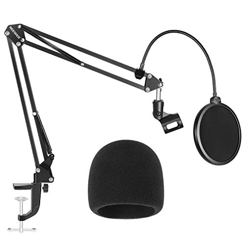 - Neewer NW-35 Microphone Stand with Microphone Windscreen Foam and Dual-Layered Mic Pop Filter - Suspension Boom Scissor Arm Stand Kit (NOT Compatible with Blue Yeti, Snowball, Blue Spark)
