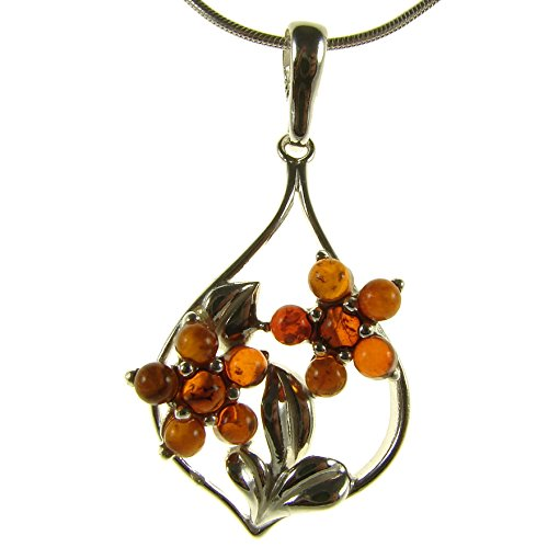 BALTIC AMBER AND STERLING SILVER 925 DESIGNER COGNAC FLOWER LEAF PENDANT JEWELLERY JEWELRY (NO CHAIN)