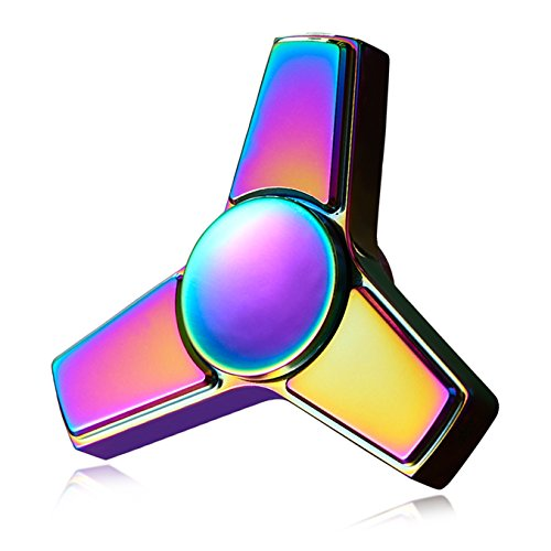 Fidget Spinner Stainless Steel by OHQ - EDC Premium Hand Spinner Toy for Killing Time - reduces Anxiety, increases Focus, helps ADHD&Autism (Rainbow)