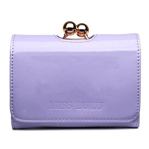 Miss Lulu Womens Patent Leather Small Ball Clasp Matinee Purse Wallet (Light Purple) ()