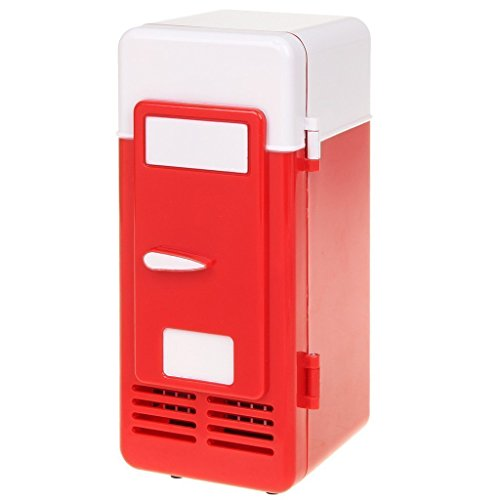 ThreeH New Mini Red USB Fridge Cooler Beverage Drink Cans Cooler/Warmer Refrigerator for Laptop PC Computer Red H-UF05Red (Mini Fridge Usb)