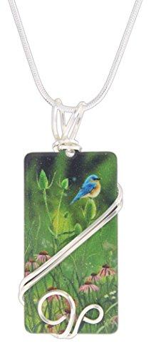 D'ears Bluebird & Flowers Rectangle Pendant on 18