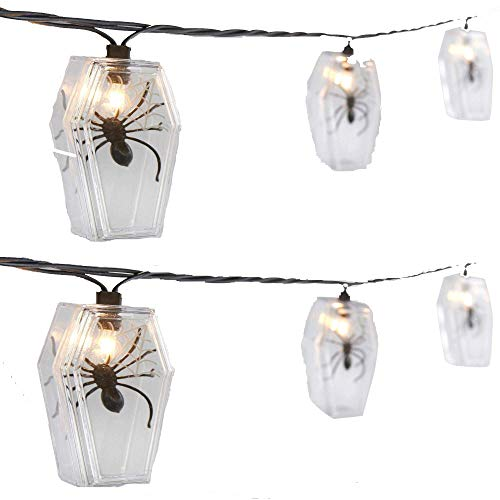 Northeast Home Molded Spiders in Coffin Halloween LED String Lights, Set of -