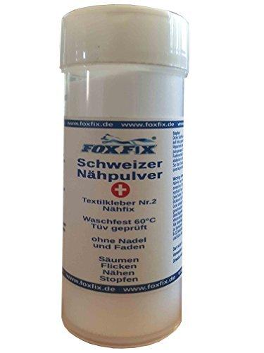 Schweizer Nähpulver - 60°C Waschbar NähFix, Flickpulver, Stoffkleber, Textilkleber Nr.2, Bügelpulver - 18g Streuer