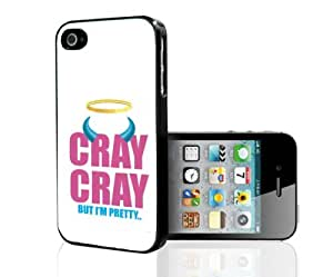 """Pink and Blue """"Cray Cray- But I'm Pretty"""" Words with Blue Horns on White Background Hard Snap on Phone Case (iPhone 5/5s) by mcsharks"""