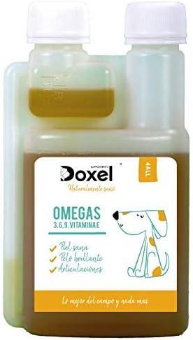 Doxel 4all-250ml Aceite para Perros| Suplemento Natural | Sistema Inmunitario Reforzado| Articulaciones sanas| Pelo Brillante| Piel Sana| Ácidos grasos Omega 3 6 9| Vitamina E| Alergias Perro|Natural