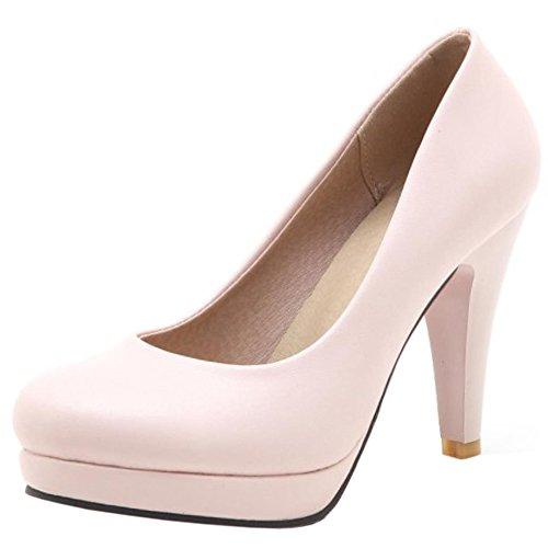 COOLCEPT Mujer Basico Oficina Boca Baja Zapatos sin Cordones Simple Vestido Tacon Delgado Alto Bombas Zapatos Rosado