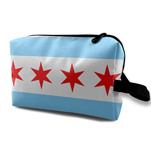 Chicago Stars Flag Blue White Stripes Makeup Case Women Travel Makeup Train Case Pouch - Multifunction Clutch Bag Pen Bag Holder, Carrying Case for Cosmetics Jewelry Eyeliner, Trip, Coin