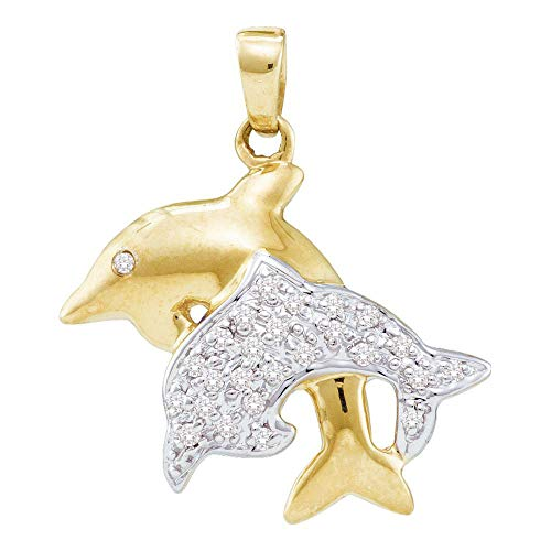 - Jewels By Lux 10kt Yellow Gold Womens Round Diamond Double Dolphin Fish Animal Pendant 1/8 Cttw In Pave Setting (I2-I3 clarity; I-J color)
