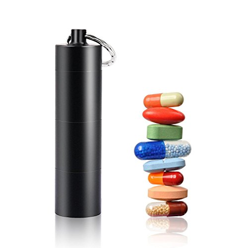 Box, Waterproof 3 Compartment Keychain Empty Pill Box Case Holder Container 3 Times A Day Portable Little Pill Box Black (Empty Black Box)