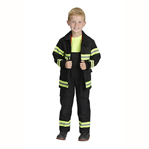 Firefighter Costumes For Girls (Aeromax Jr. Fire Fighter Bunker Gear, Black, Size 6/8)
