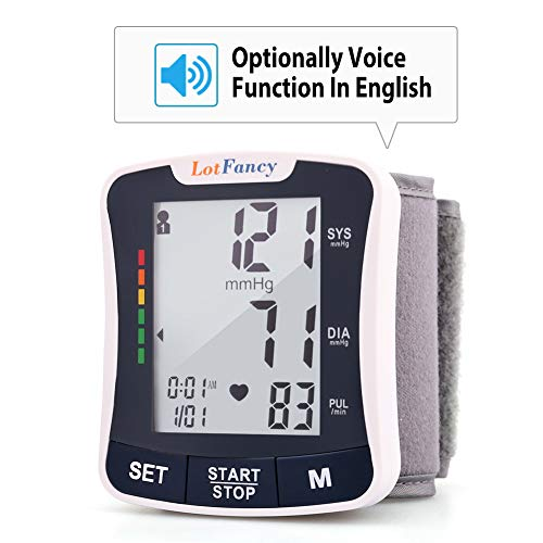 Lotfancy Blood Pressure Monitor Cuff Wrist, FDA Approved Digital BP Monitor with Talking Function, 120 Reading Memory, 2Users, Fully Automatic Accurate Wrist BP Machine with Large LCD Display best to buy