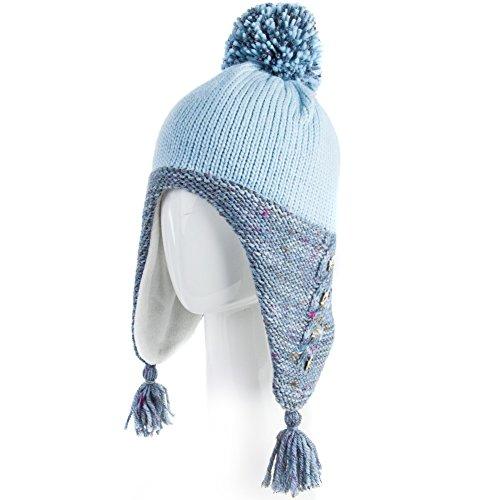 Siggi Winter Wool Peruvian Hat Women Beanie Earflap Hats Snow Ski Caps Fur  Lining Blue 1f7c37a2ef6