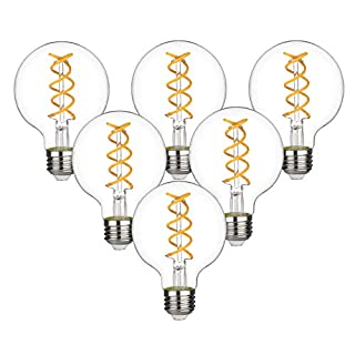 KGC G25(G80) Vintage LED Edison Globe Bulb,Soft White 2700K,Antique Style Flexible Spiral LED Filament Light Bulb,4.5W Equivalent to 40W, Dimmable 450LM, E26 Base, Clear Glass(G25-4.5W-2700K-6Pack)
