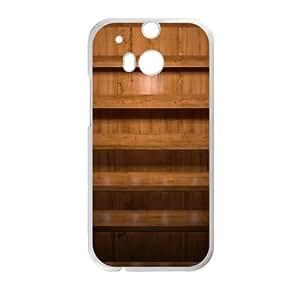 Medium Brown Shelves iOS7 HTC One M8 Cell Phone Case White phone component AU_618782