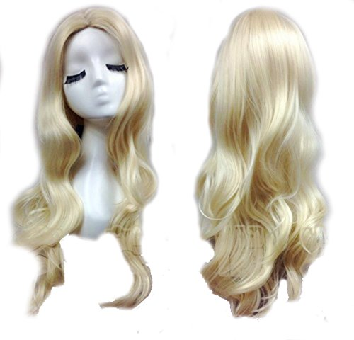 (Black Canary Wig Golden Long Wavy Hair Black Canary Cosplay Accessories)