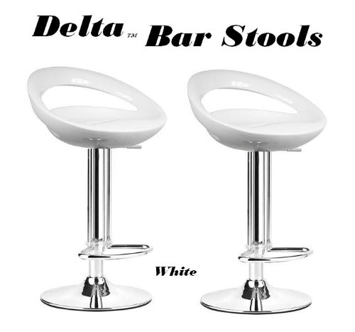 South Mission Delta Modern Style ABS Adjustable Swivel Bar Stools - (Set of 2) (White)