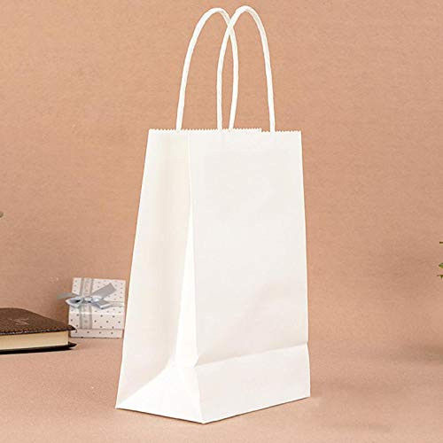 Haga Party Bag Paper Bag with Handles Sweet Color for Halloween Wedding Birthday Party Jewelry Festival Gifts Candy Paper Bags White 21x15x8cm -