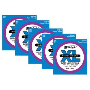 D'Addario EXL120-7x5 (5 sets) Electric Guitar Strings, 7 Strings, Nickel, Round Wound, Super Light ()