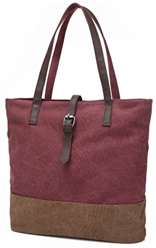 Canvas Beach Red Tote Women's Brown Bag Shopper DCCN C S5nq4EwxnT