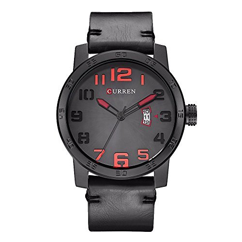 CURREN 8254 (Gray) Men's Sports Waterproof Leather Strap Date Good Quality Wrist Watch Digital Solar Bracelet
