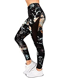 Plus Size Active Womens Elastic-Band Marble Mesh Legging by RAG
