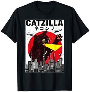 Vintage Catzilla Japanese Sunset Style Cat Kitten T-shirt   Size S - 5XL
