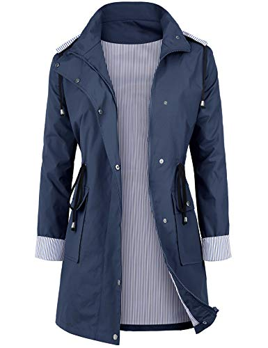 DOSWODE Women Waterproof Raincoat Lightweight Rain Jacket Hooded Windbreaker Trench Coats Blue_XXL