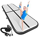 Air Track Tumbling Mat for Gymnastics Inflatable Airtrack Floor Mats with Electric Air Pump for Home Use Cheer Training Tumbling Cheerleading Beach Park Water &Martial Arts