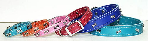OmniPet Signature Leather Dog Collar with Bone Ornaments, Mandarin, 20
