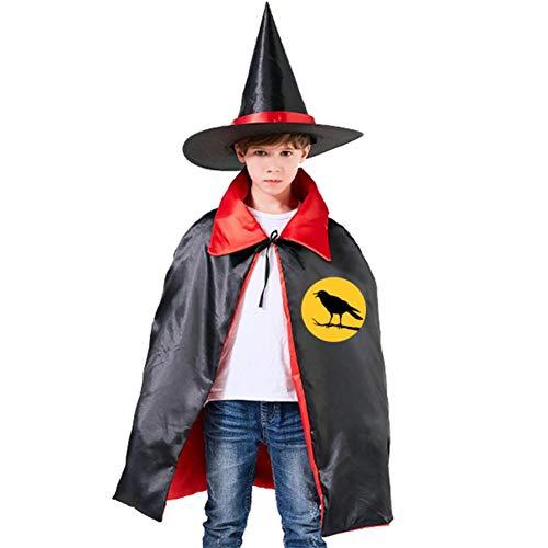 Kids Cloak Halloween Black Bird Wizard Witch Cap Hat Cape All Saints' Day Costume Magician Halloween Party Boys DIY Prop