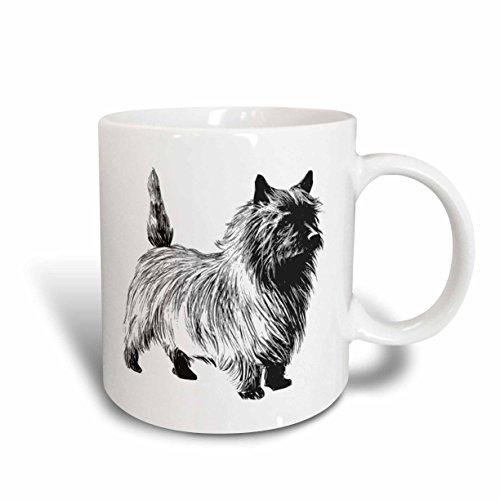 3dRose mug_46553_1 Black and White Cartoon Cairn Terrier Ceramic Mug, 11-Ounce